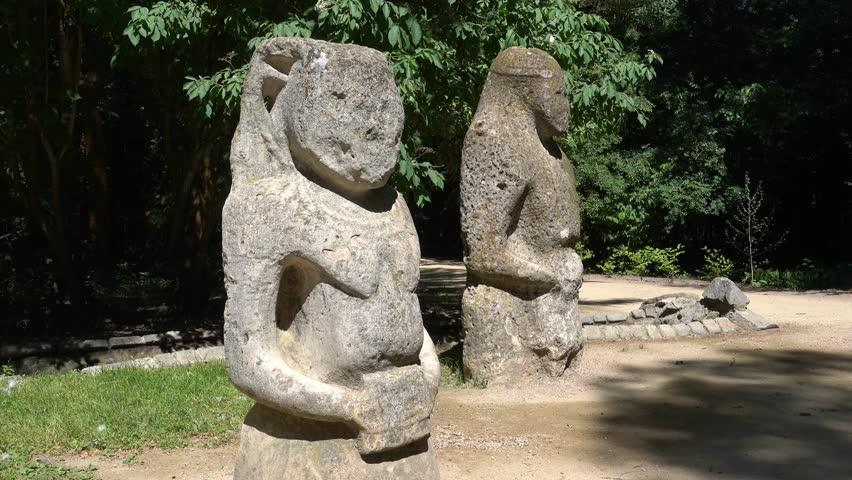 Kherson region, Ukraine - 3d of June 2018: 4K Tour to the  Askania-Nova reserve - Authentic stone Polovtsy idols  #1012532759