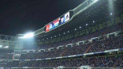 Crowded Santiago Bernabeu stadium grandstand - April 18. 2018: Atletic Bilbao - Real Madrid match, Madrid, Spain