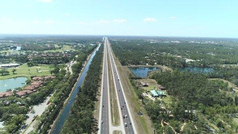 Aerial shot of American highway. Aerial view of interstate highway US-75 Florida
