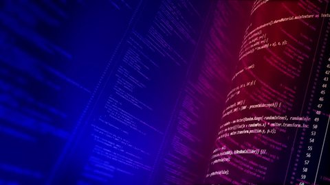Programming C# Code Background Loop. Animated computer script programming code as technology background. Computer code in C# language. Red Blue version. Seamless loop. The depth of field. My own code.