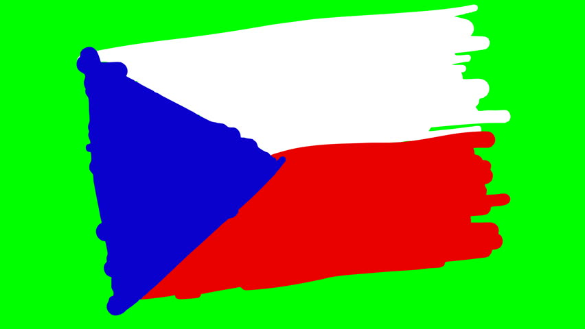 Czech Republic Drawing Flag On Stock Footage Video 100 Royalty