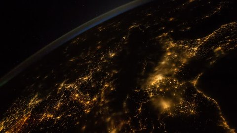 Time lapse of the planet earth from SIS. City lights at night.  Elements of this image courtesy of NASA Johnson Space Center : http://eol.jsc.nasa.gov