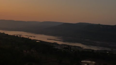 The Sun Rising in Pha Taem National Park , Pan View form Right to Left