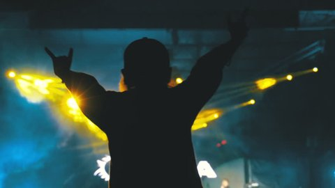 Silhouette of a Girl at a Rock Concert with Hands Outstretched on the Background of the Music Festival Scene and Light show. Rock Concert in Night Club. People on the scene without focus. Open air