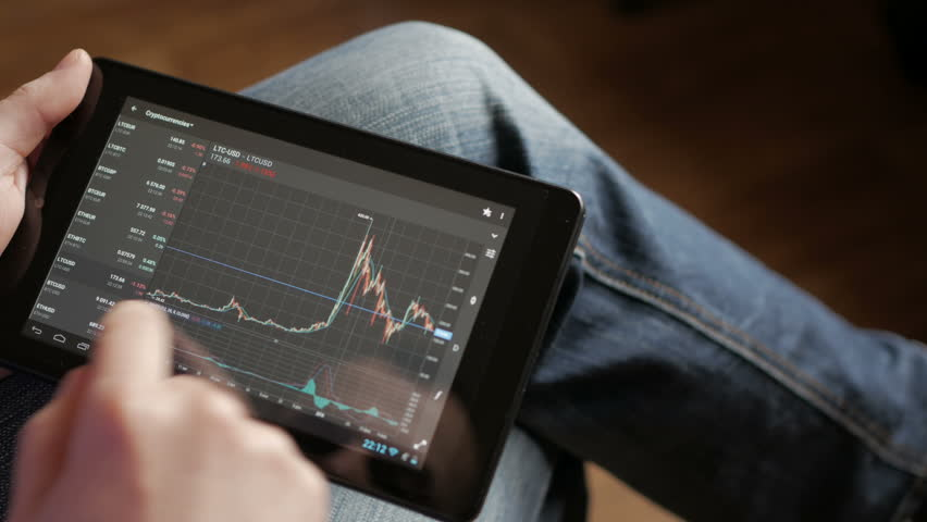 Stock market, trading online, trader working with tablet on stockmarket trading floor. Man touching screen, browse foreign exchange market data, chart. Forex. Crypto currency. Bitcoin cryptocurrency. | Shutterstock HD Video #1012631579