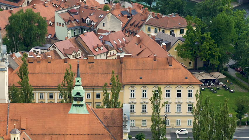 Old Melk town with red roofs in Austria, tourist attraction, aerial panorama