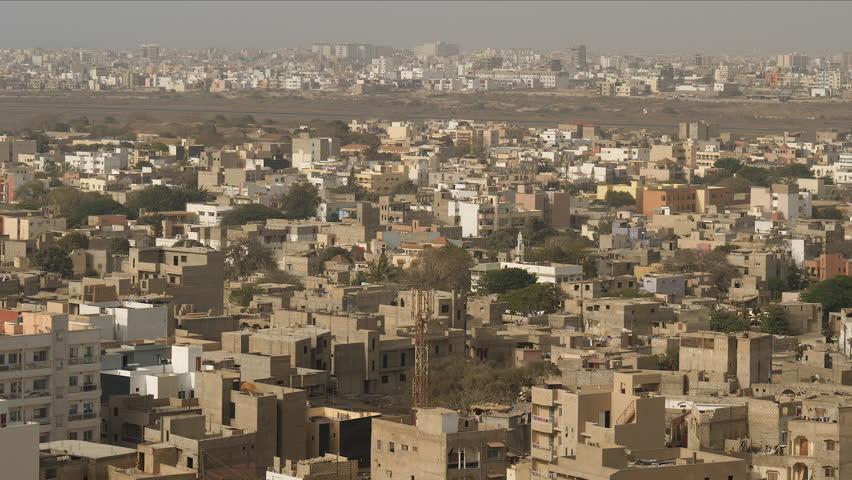 Africa: cityscape of Dakar, Senegal. Long shot.
