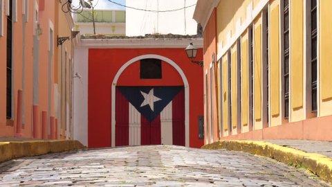 Puerto Rico's Flag in Old San Juan Door