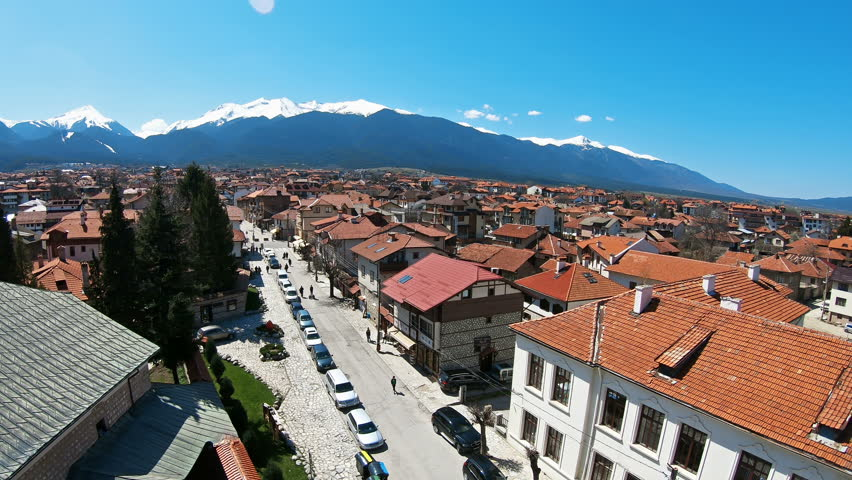 Panoramic aerial view of Bansko town, Bulgaria a famous ski center and world ski cup winter resort