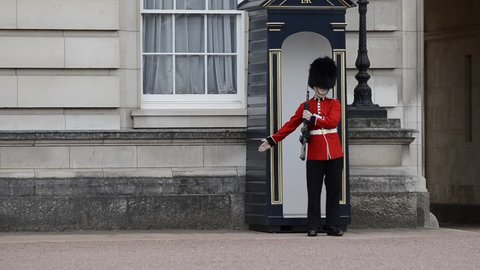 Buckingham palace, London, United Kingdom, June 2018. The guard, during his turn, marches to release his legs and then resume his position of surveillance, remaining motionless.