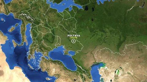 UKRAINE POLTAVA ZOOM IN FROM SPACE