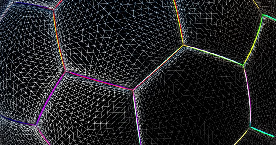 Abstract animated background for 3d mapping on surface. Soccer ball network looped animation. | Shutterstock HD Video #1012797119