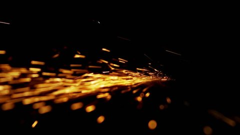 horizontal bundle of glowing sparks on a black background