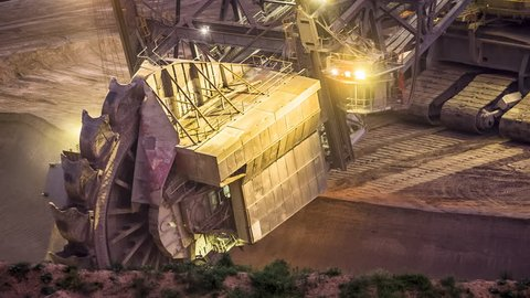 bucket-wheel excavator in open-cast mining pit in Germany