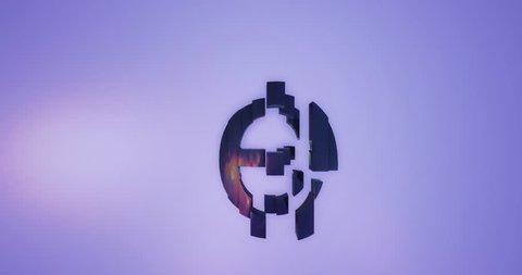 3D rendering black Alphabet split moving on blue background,Letter e lowercase