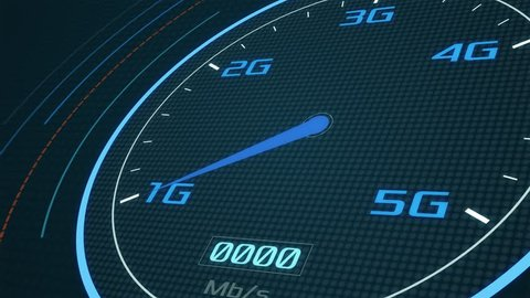 futuristic speedometer with the pointer that pass from the old 1G to the new 5G technology, concept of fast mobile network (3d render)