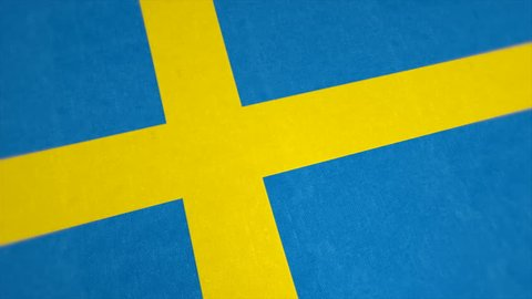 Stockfootage of National Flag of Sweden - Animated Swedisch Country Flag - Windy Flag Motion Background