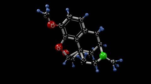 Codeine molecule. Molecular structure of opium poppy alkaloid. Pain treatment. Alpha channel.