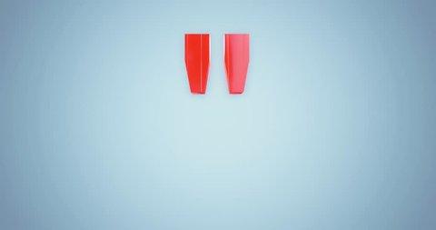 "3D rendering red Alphabet split spin rotate on blue background,Letter "" Quotation marks"