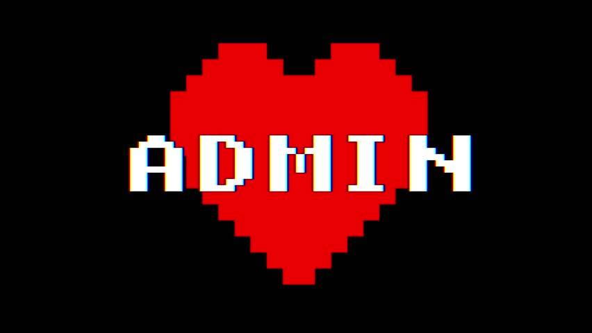 Pixel heart ADMIN word text glitch interference screen seamless loop animation background new dynamic retro vintage joyful colorful video footage   Shutterstock HD Video #1012898399