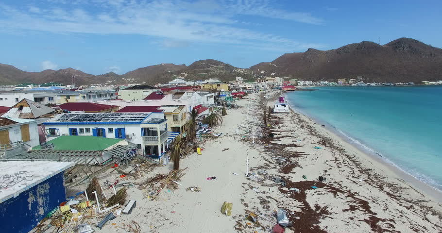 Hurricane Irma a category 5 storm completely destroyed the boardwalk  on st maarten and the businesses next to it. The entire boardwalk was turn into a beach.