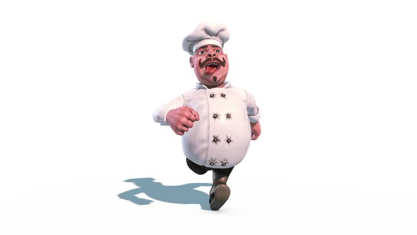 Fun Chef Run Tongue Alpha Matte Front 3D Rendering Animation