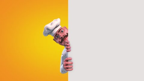Fun Chef says Goodbye Alpha Matte 3D Rendering Animation
