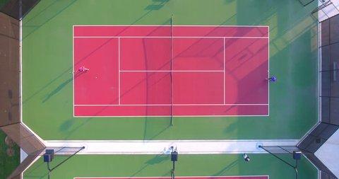 Top down shot of tennis match