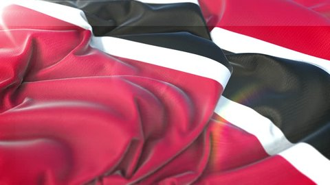 Trinidad and Tobago flag.Flag of Trinidad and Tobago Beautiful 3d animation of Trinidad and Tobago flag in loop mode.