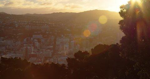 Sunset lens flare over Wellington City New Zealand