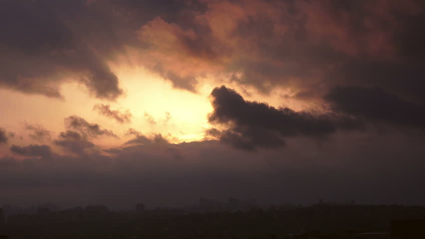 Time lapse sunset on the cloudy sky over city,  Turkey, Istanbul #1013037239