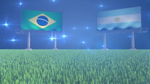 3d animated soccer ball bouncing in front of billboards with the flags of Brazil and Argentina with flickering lights in the background in 4K resolution