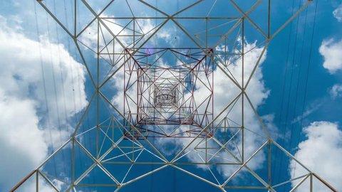 4K Timelapse of high voltage post.High-voltage tower sky background
