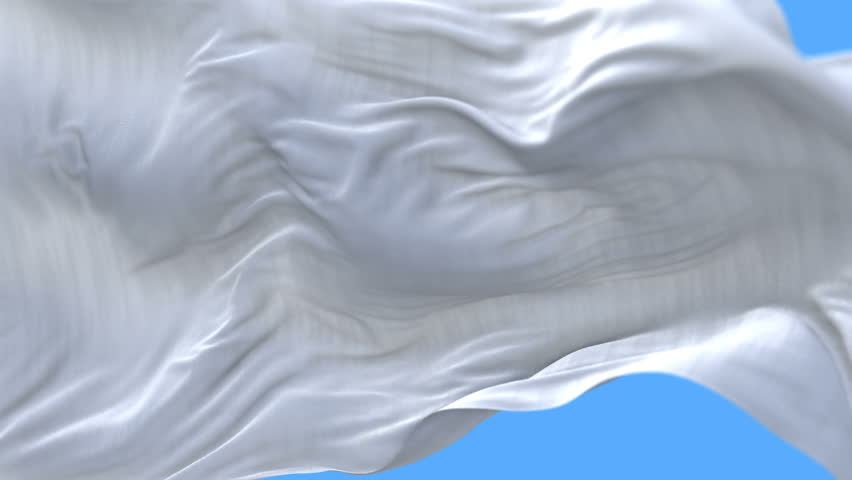 4k seamless Close up of Blank plain white flag slow waving with visible wrinkles.A fully digital rendering,The animation loops at 20 seconds.flag 3D animation with alpha channel included. cg_06305_4k