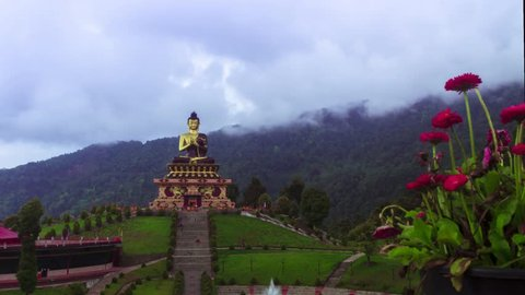 Time lapse of Buddha Park, Sikkim 1080p Pano shot