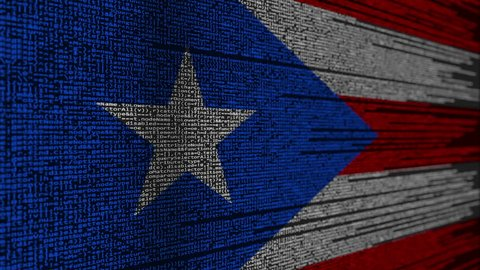 Program code and flag of Puerto Rico. Digital technology or programming related loopable animation