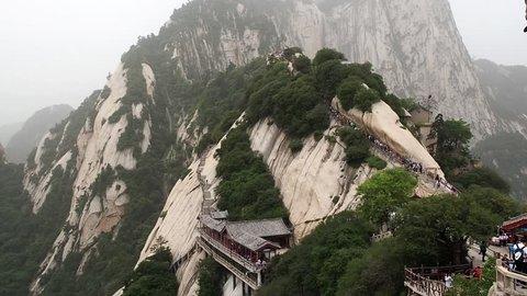 HD 00:15 Huashan mountain North Peak view - Xian, Shaaxi Province, China