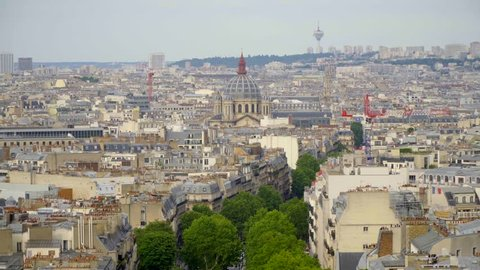Paris city center cityscape. View from Arc de Triomphe, Daylight scene in summer with blue sky.