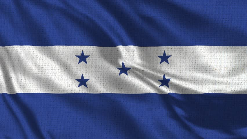 Honduras Flag Loop - Realistic 4K 60 fps flag of the Honduras waving in the wind. Seamless loop with highly detailed fabric texture. Loop ready in 4k resolution.