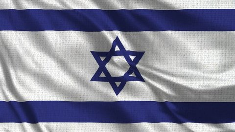 Israel Flag Loop - Realistic 4K 60 fps flag of the Israel waving in the wind. Seamless loop with highly detailed fabric texture. Loop ready in 4k resolution.