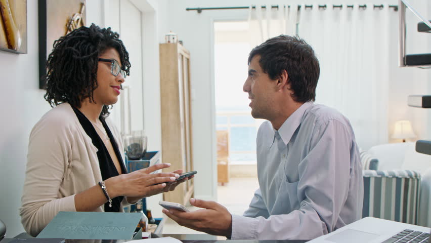 Startup Business People Discussing, Brainstorming, Man And Woman, Interior | Shutterstock HD Video #1013351639