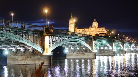 The Tormes River in Salamanca and  the New Cathedral , night scene