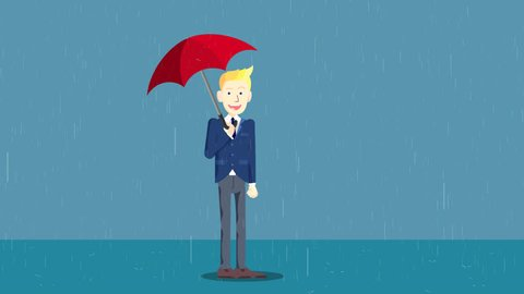 Cartoon Character Businessman opens the Umbrella and protects from Rain