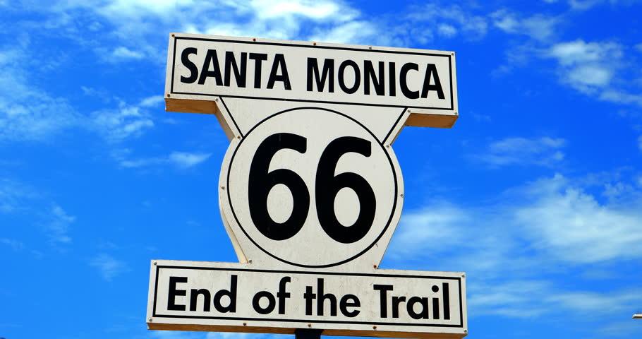 Route 66 end of the trail  landmark sign in Santa Monica Beach, Los Angeles, California, 4K   Shutterstock HD Video #1013424869