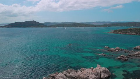 Aerial View of Sailboat, Archipel of La Maddalena, by Drone, Sardinia 2