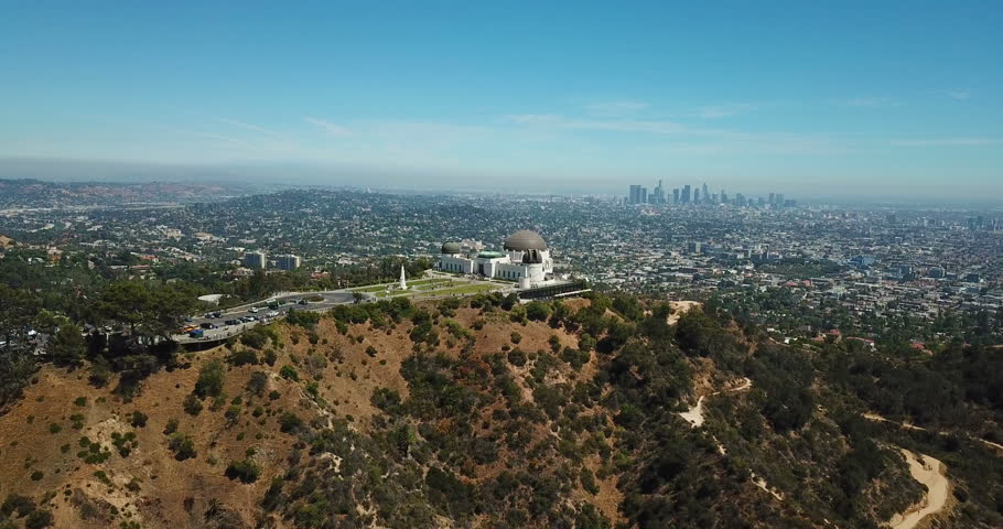 Aerial view of Griffith Observatory and downtown of Los Angeles, California   Shutterstock HD Video #1013535179