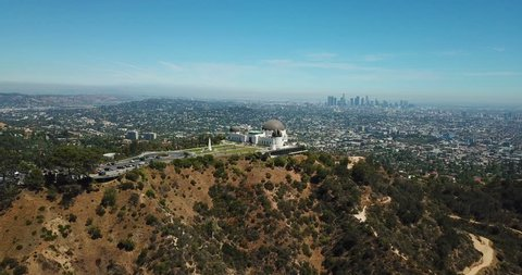 Aerial view of Griffith Observatory and downtown of Los Angeles, California