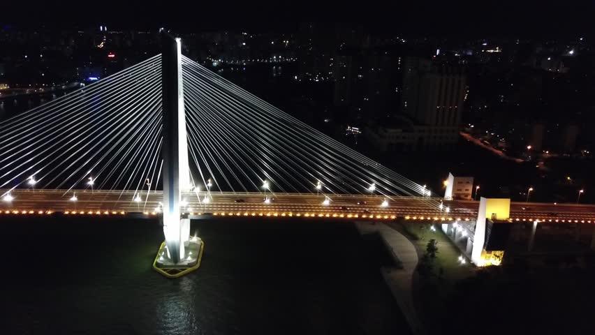 Tracking shot of the Shiji Bridge, Haikou, Hainan, China.