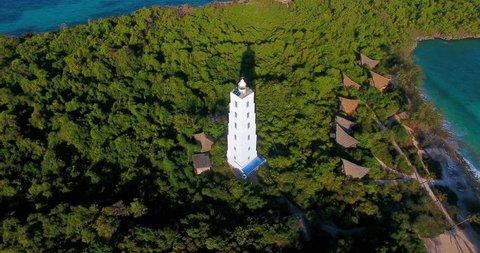 Aerial clip of the Chumbe Island (Zanzibar) and his lighthouse.