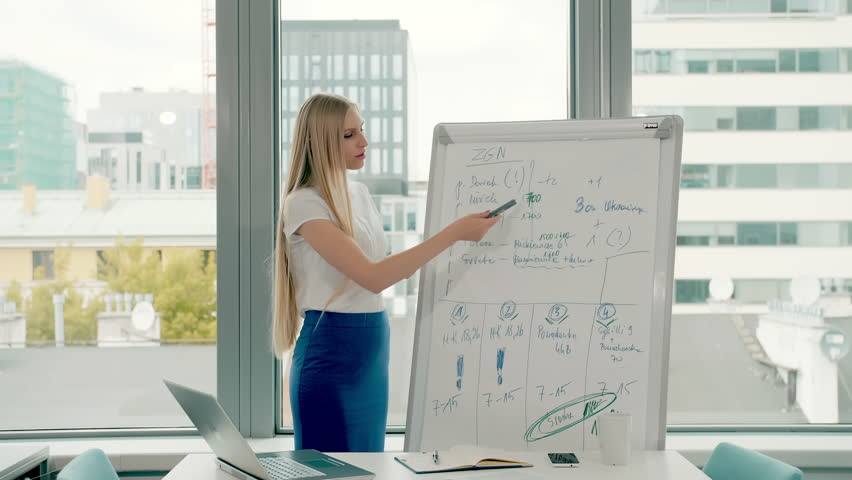 Business woman making presentation on whiteboard. Young stylish woman with long blond hair writing on whiteboard while making presentation in modern office against window. | Shutterstock HD Video #1013575799
